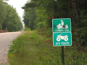 Just one of many Snowmobile and ATV Routes in the town.